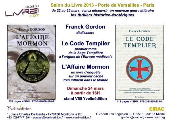 Franck Gordon dédicacera ses livres le 24 mars au Salon du Livre de Paris