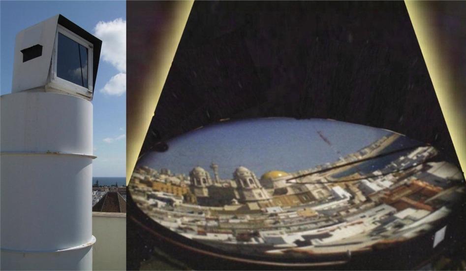 Principe d'une Camera Obscura moderne utilisée à Cadix en Espagne pour surveiller le port et la ville.