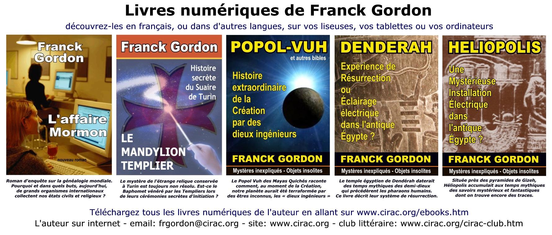 Franck Gordon présente tous ses livres dans des articles ou lors de ses conférences