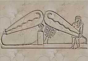Le bas-relief ci-dessus, une fois reconstitué,   montre deux objets étranges ressemblant à un système d'éclairage de l'Egypte antique.