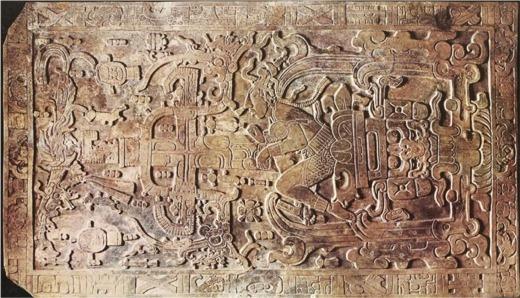 L'étrange dalle de la crypte profonde du temple des inscriptions à Palenqu&eacaute; au Mexique, repr&eacaute;senterait peut-être un ancien astronaute.
