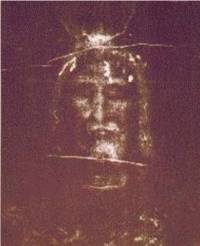 The photograph of the man head on the Turin Shroud. The image is clear and infinitely more detailed.