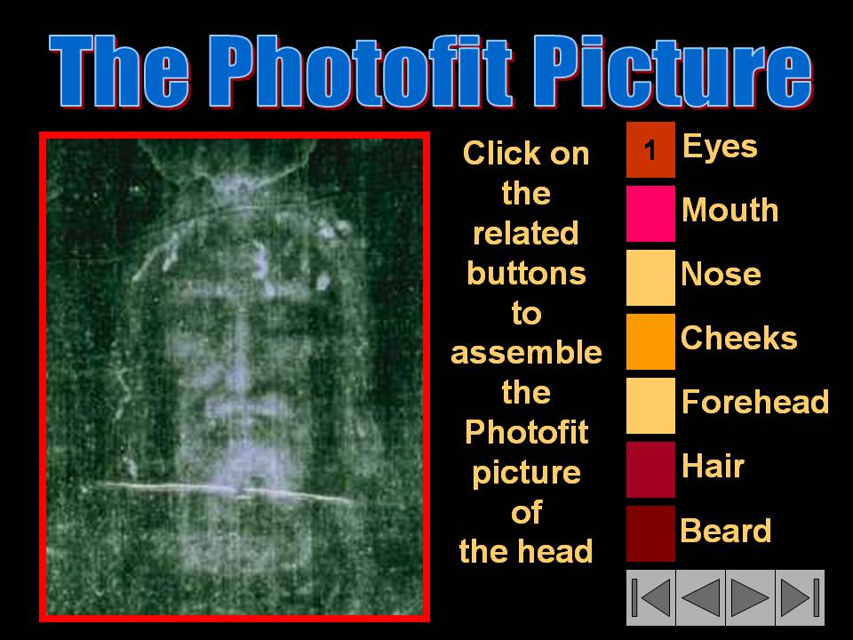 Click HERE to download our investigation and to assemble the Photofit Picture of the man head on the Turin Shroud.