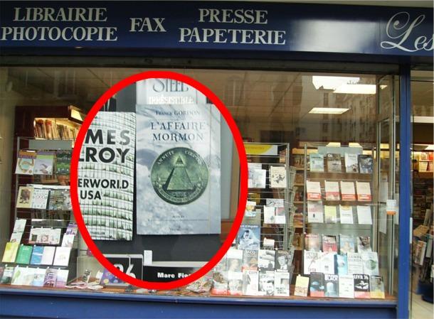 Librairie Les Mots Bleus à Paris où l'on trouve le roman d'enquête L'AFFAIRE MORMON