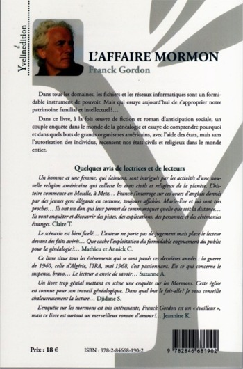 l'auteur Franck Gordon et quelques avis de lectrices et lecteurs