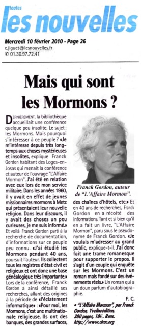 Article paru dans les Nouvelles de Versailles sur l'Affaire Mormon de Franck Gordon