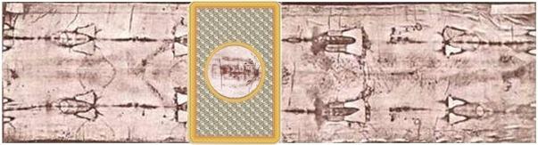 Vue du Suaire de Turin montrant la position du Mandylion