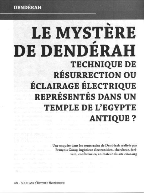 article sur le Mystère de Dendérah paru dans la revue 5000 ANS D'HISTOIRE MYSTERIEUSE.
