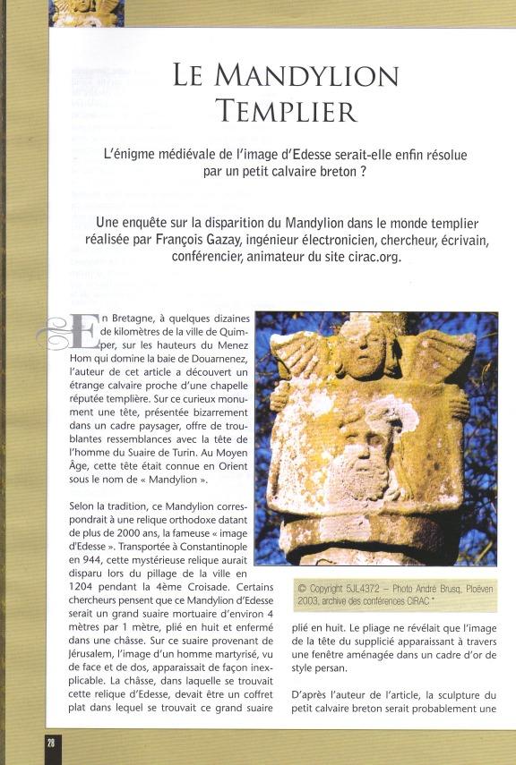 article sur le Mandylion Templier paru dans la revue I.N.R.I. LES SECRETS DU CHRISTIANISME.